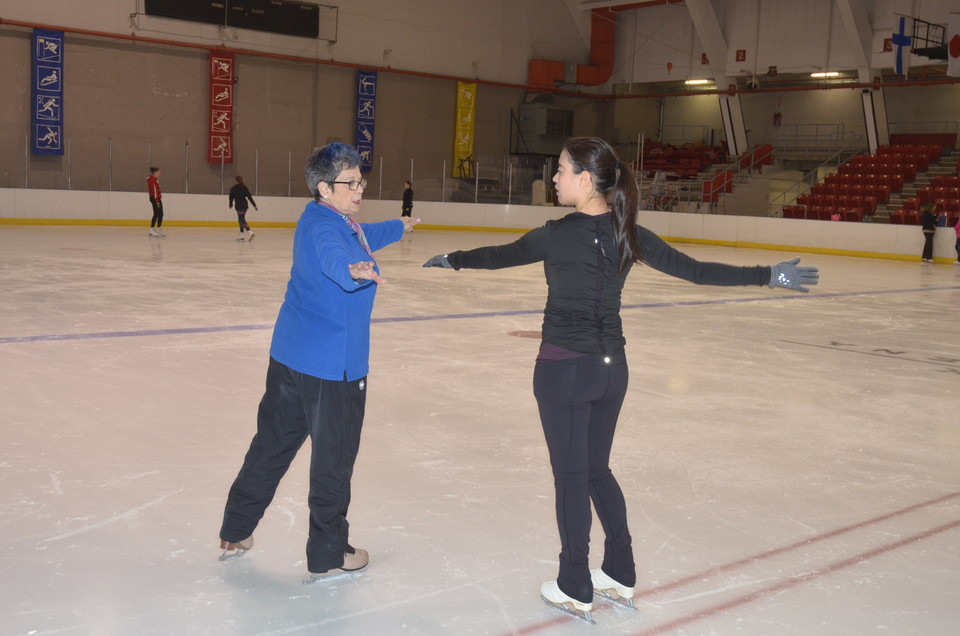 Evelyn coaching at the Lake Placid Summer Skating Program, Summer 2016