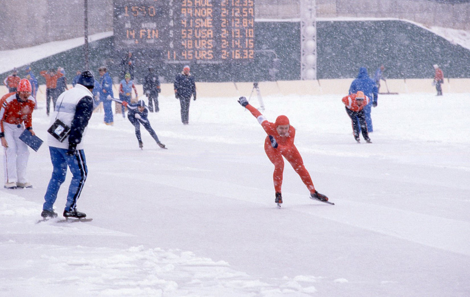 Person Skiing in Heavy Snow at the 1980 Winter Olympic Games
