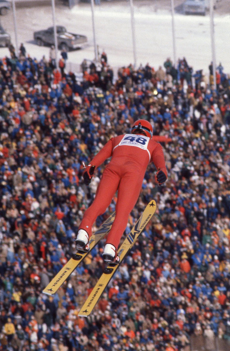 Man Flying Through The Air and Heavy Winds at the 1980 Winter Olympic Games