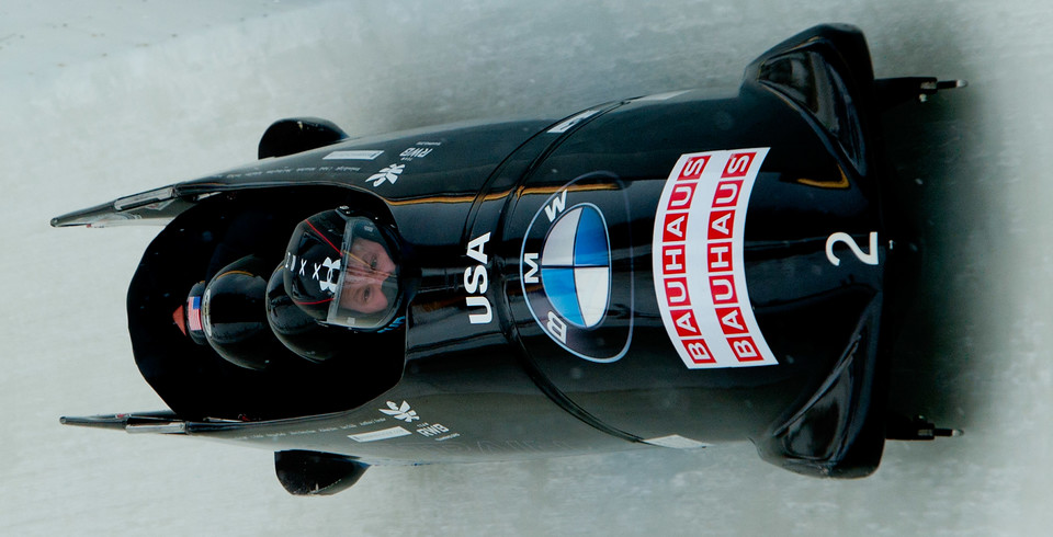 Steven Holcomb, Justin Olsen, Steven Langton and Curtis Tomasevicz bobsledding in Lake Placid, NY.