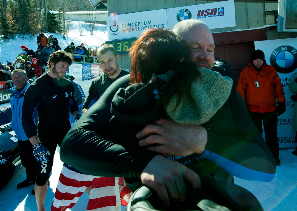 Steven Holcomb hugging woman