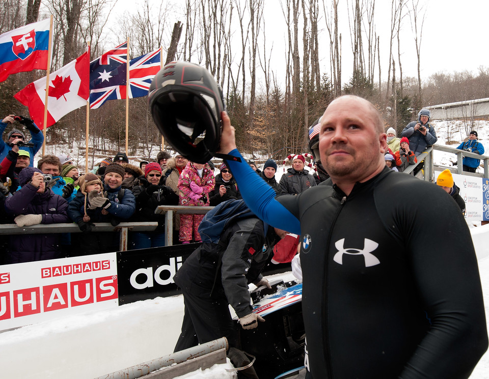 Steven Holcomb of The United States celebrates his win of the Men's Two Man FIBT Bobsleigh World Championships held at Lake Placid New York