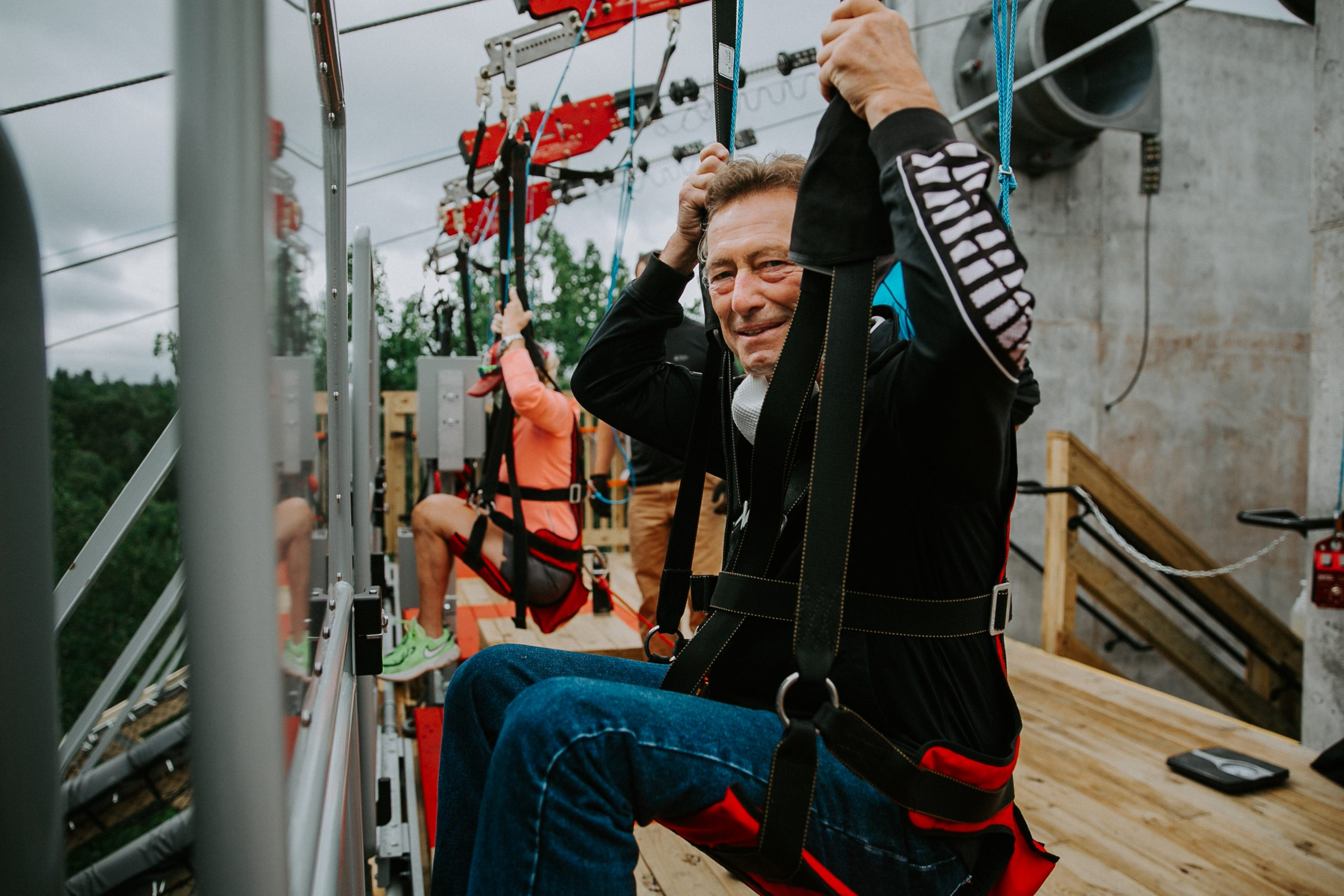 Jay Rand tests out the newest addition to the Olympic Jumping Complex, the Sky Flyer Zipline