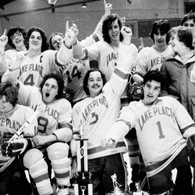 Lake Placid High School Hockey team after winning the 1980 NYS championship