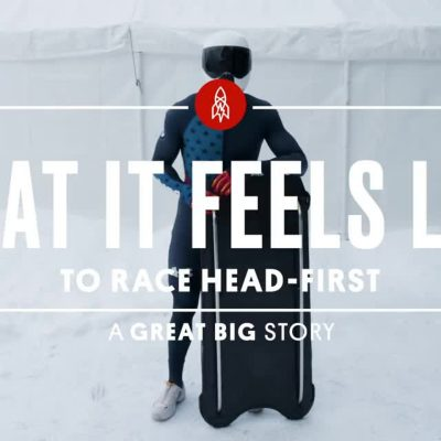 "Text ""What it feels like to race head-first for a great big story over skeleton rider"
